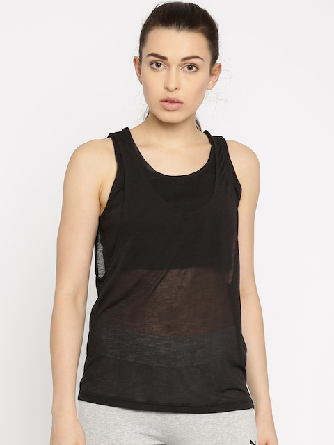 Puma Women Black Overlay Solid Tank Top