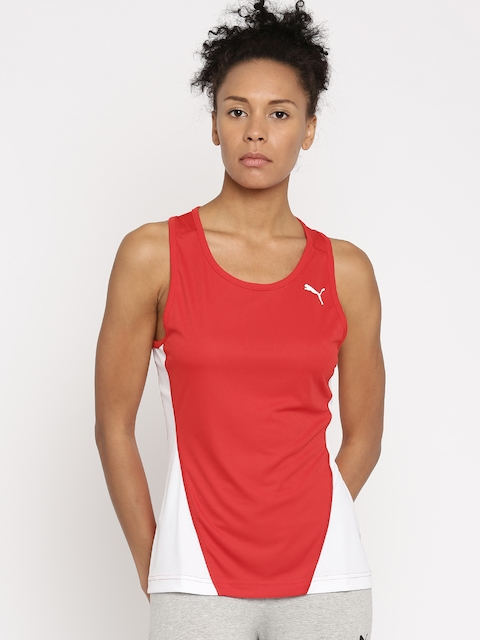 Puma Women Red & White Checked Tank Top