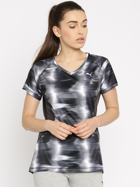 Puma Women Grey Striped V-Neck DryCELL Graphic S/S T-shirt