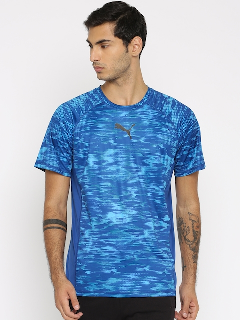 Puma Men Blue Printed Round Neck DryCELL VENT SS Graphic T-shirt