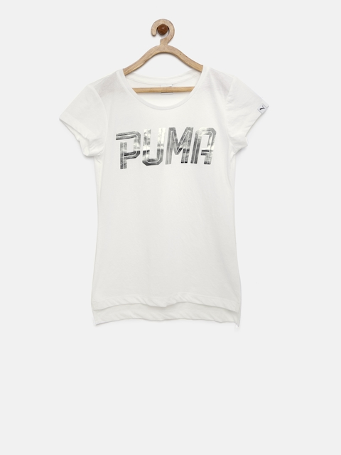 Puma Girls White Sport Style Printed Round Neck T-shirt  available at myntra for Rs.359