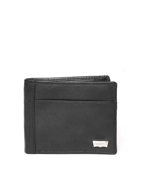 Levis Men Black Genuine Leather Solid Two Fold Wallet