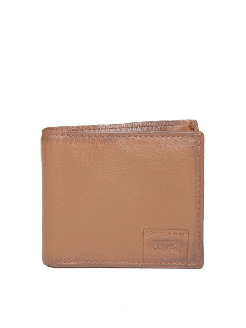 Levis Men Tan Brown Genuine Leather Solid Two Fold Wallet