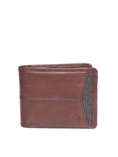 Levis Men Coffee Brown Genuine Leather Solid Two Fold Wallet