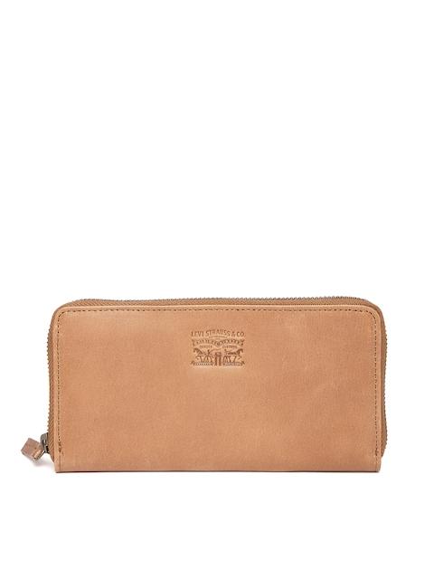 Levis Men Brown Genuine Leather Solid Zip-Around Wallet
