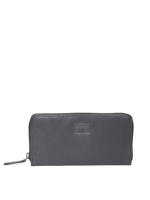 Levis Men Black Genuine Leather Solid Zip-Around Wallet