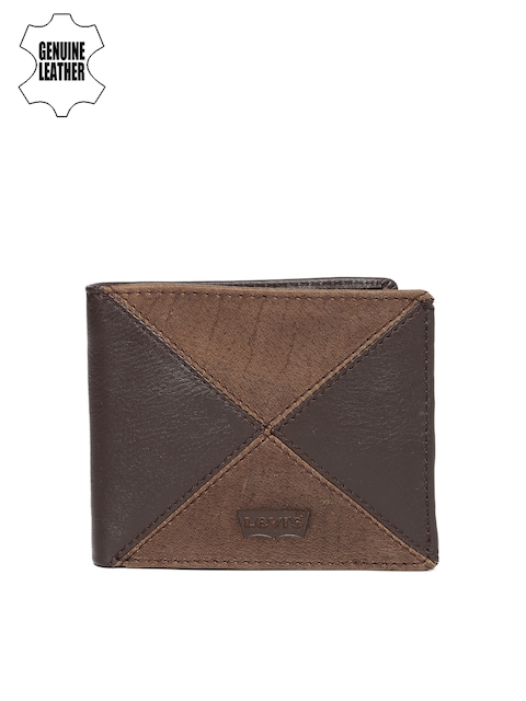 Levis Men Brown Colourblocked Two Fold Genuine Leather Wallet