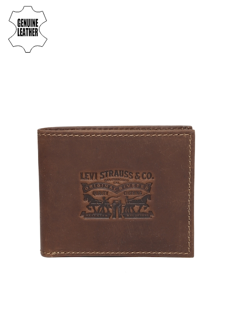 Levis Men Brown Textured Two Fold Genuine Leather Wallet