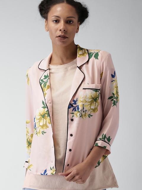 FOREVER 21 Women Peach Regular Fit Printed Casual Shirt