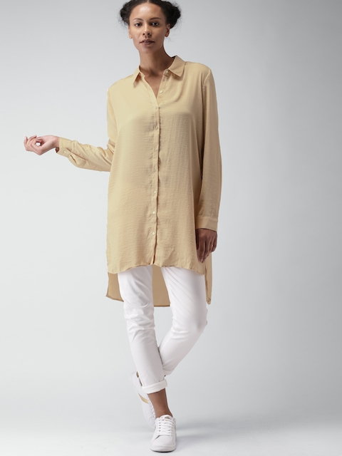FOREVER 21 Women Beige Regular Fit Solid Longline Casual Shirt