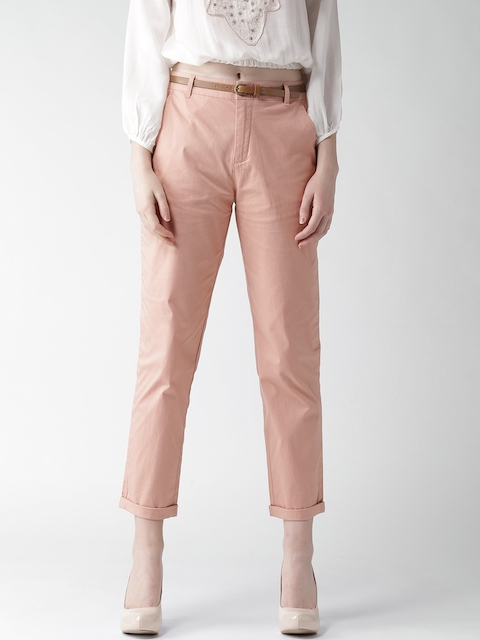 FOREVER 21 Women Peach-Coloured Solid Cropped Trousers