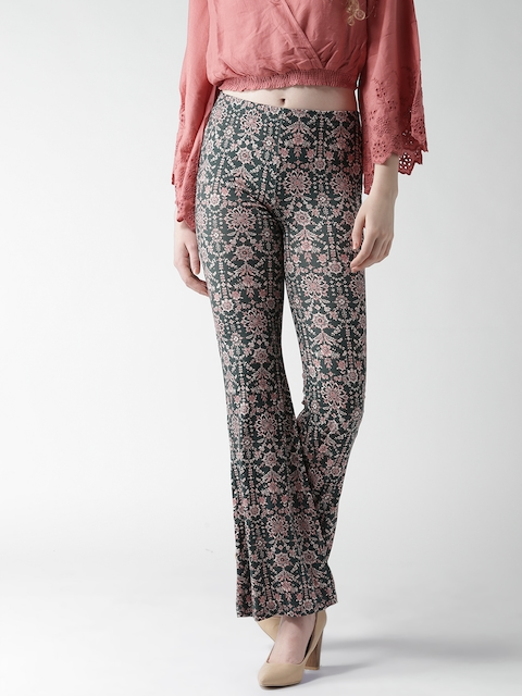 FOREVER 21 Women Green Printed Bootcut Trousers