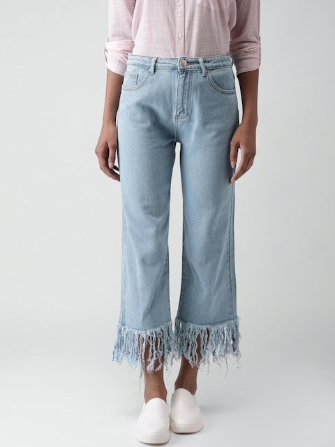 FOREVER 21 Women Blue Regular Fit Mid-Rise Clean Look Cropped Jeans