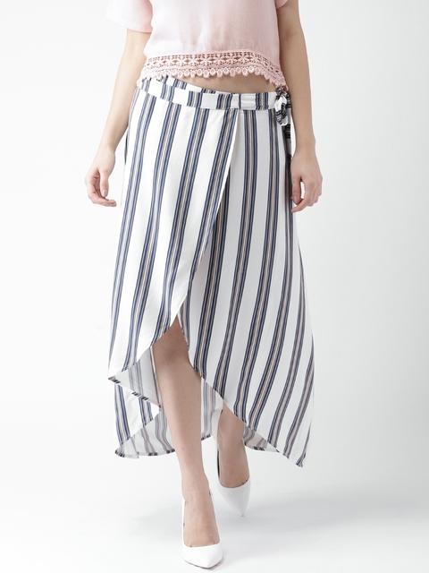 FOREVER 21 White & Blue Striped Tulip Midi Skirt