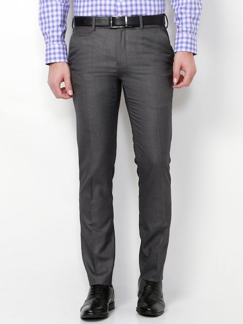 Van Heusen Men Grey Slim Fit Solid Regular Trousers