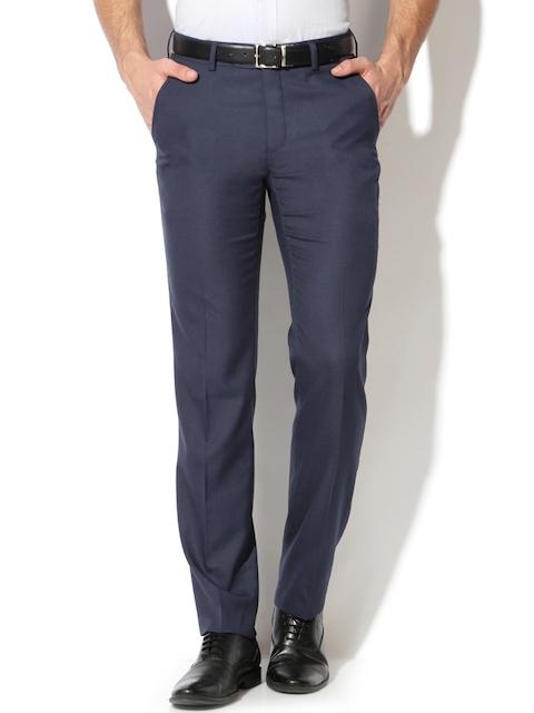 Van Heusen Men Navy Slim Fit Checked Formal Trousers