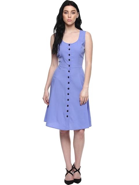 Abiti Bella Women Blue Solid Fit & Flare Dress