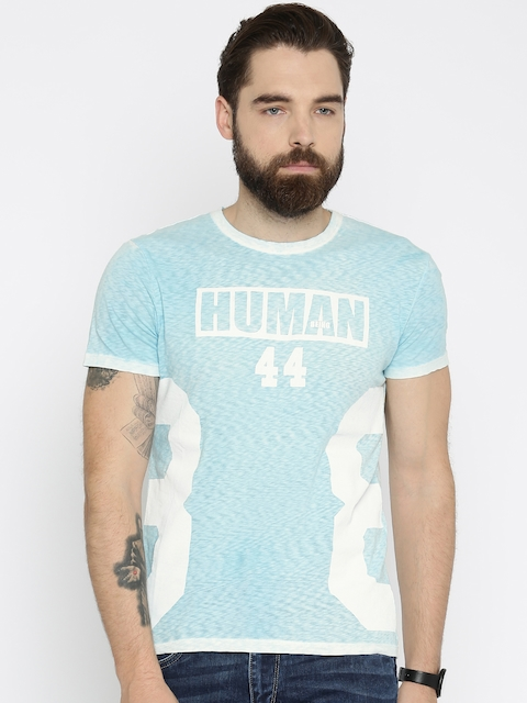 Being Human Men Blue Printed Round Neck T-shirt