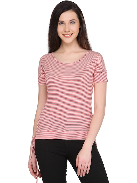 plusS Women Red & Off-White Striped Fitted Top