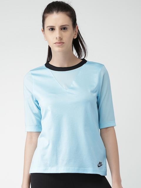 Nike Women Blue AS W NSW BND Solid Top