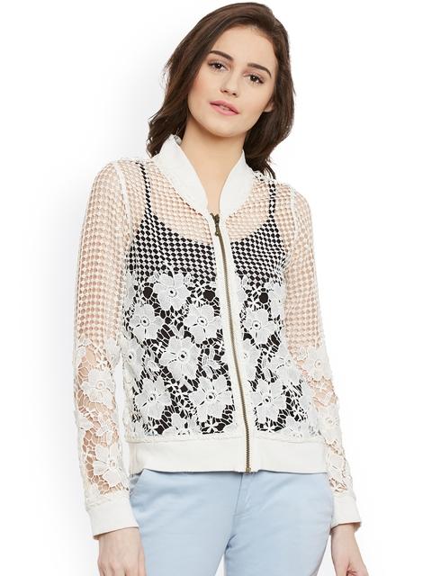 Latin Quarters Women Off-White Self Design Tailored Jacket