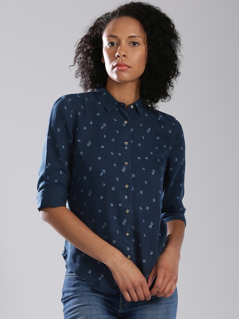 Levis Navy Blue Printed Casual Shirt