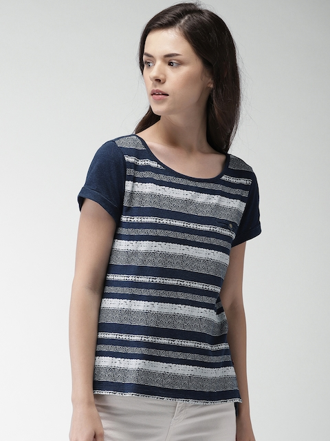 Levis Women Navy Blue Printed Styled Back Top