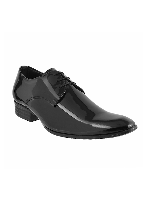 Metro Men Black Glossy Leather Formal Shoes