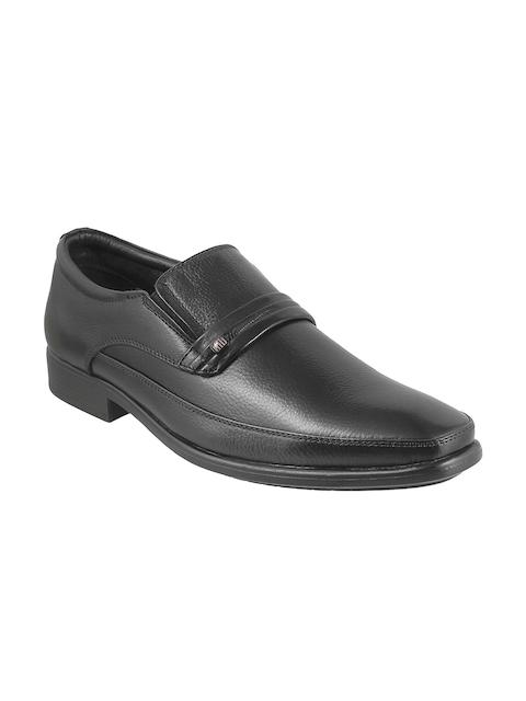 Metro Men Black Leather Semiformal Slip-Ons