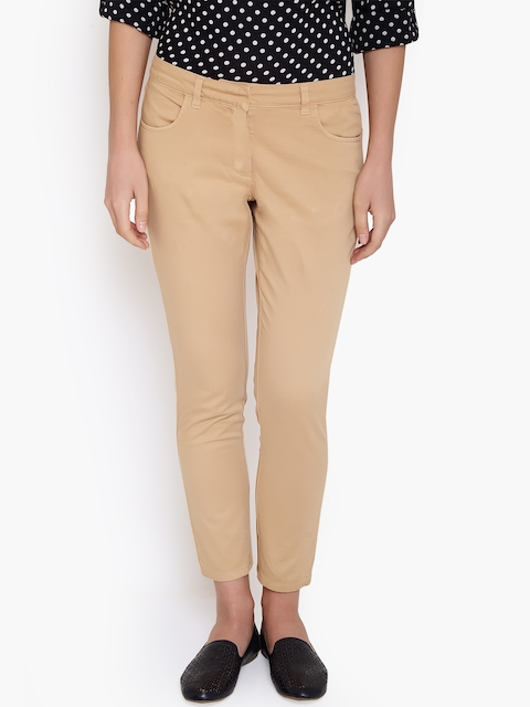 Amari West Women Beige Tapered Fit Solid Ankle-Length Chinos  available at myntra for Rs.577