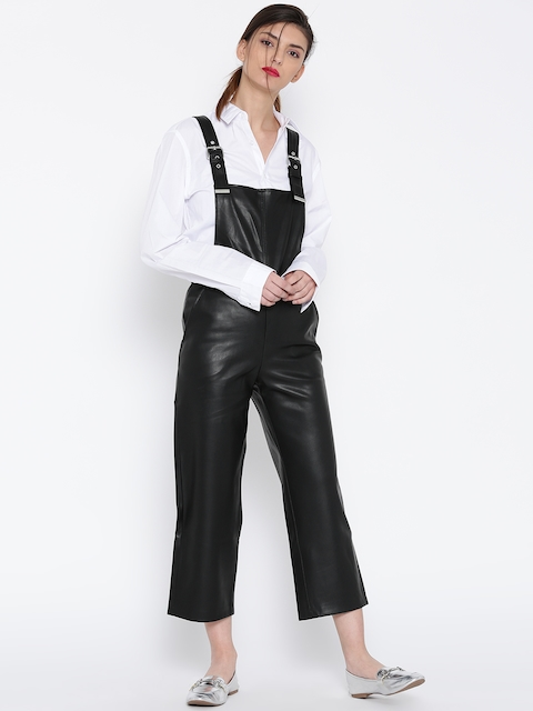 MANGO Black Faux Leather Dungarees
