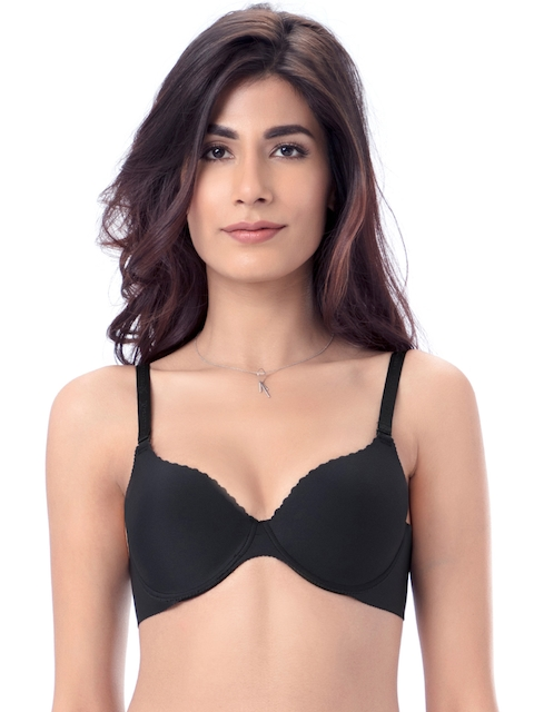 PrettySecrets Black Solid Underwired Lightly Padded T-shirt Bra B0006
