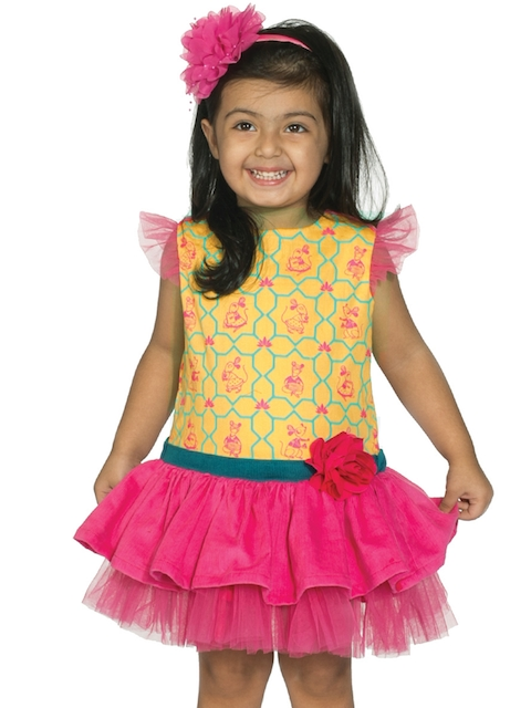 Tiber Taber Girls Pink Printed Drop-Waist Dress