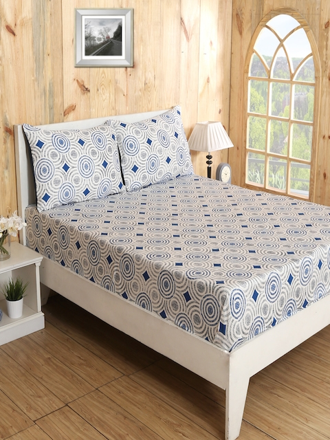 MASPAR Blue & Off-White Cotton 210 TC Fine Double Bedsheet with 2 Pillow Covers