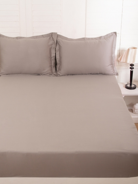 MASPAR Taupe Cotton 300 TC Fine Double Bedsheet with 2 Pillow Covers