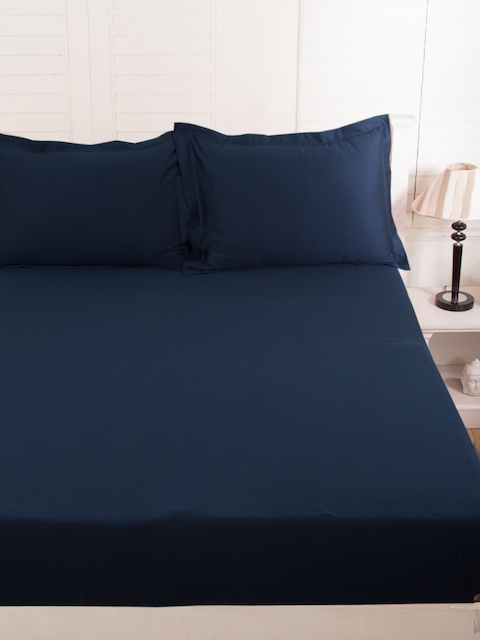 MASPAR Navy Cotton 300 TC Fine Double Bedsheet with 2 Pillow Covers