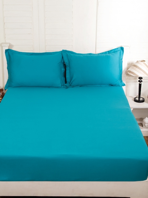 MASPAR Teal Blue Cotton 300 TC Fine Double Bedsheet with 2 Pillow Covers