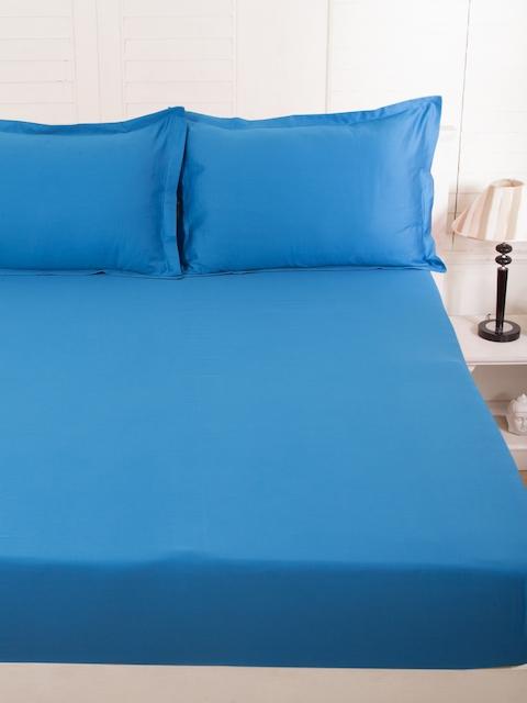 MASPAR Blue Cotton 300 TC Fine Double Bedsheet with 2 Pillow Covers