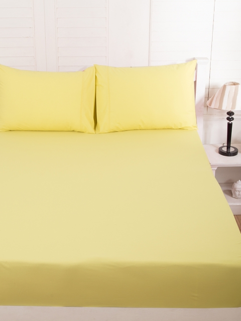 MASPAR Yellow Cotton 200 TC Fine Double Bedsheet with 2 Pillow Covers