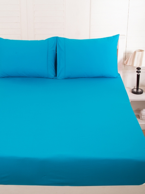 MASPAR Blue 200 TC Fine Cotton Double Bedsheet with 2 Pillow Covers