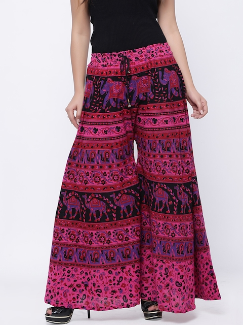 SOUNDARYA Women Pink & Black Printed Flared Palazzos
