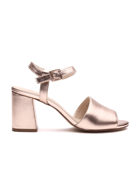 MANGO Women Gold-Toned Solid Sandals