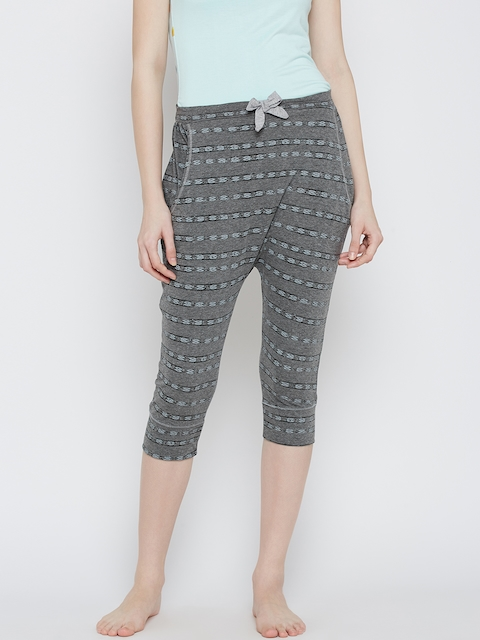 Slumber Jill Grey Melange Striped Lounge Capris FWSJ917