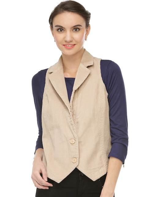 Xpose Women Beige Solid Tailored Jacket