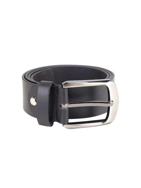 Kara Men Black Solid Genuine Leather Belt