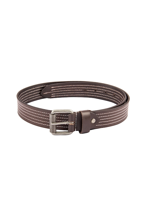 Kara Men Brown Genuine Leather Belt with Stitch Detail