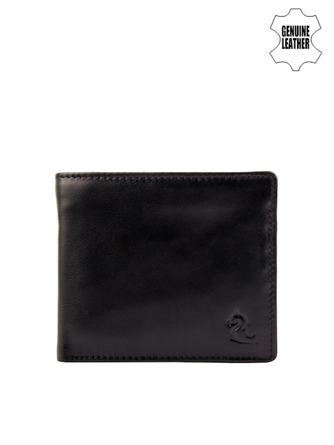 Kara Men Black Solid Genuine Leather Two Fold Wallet