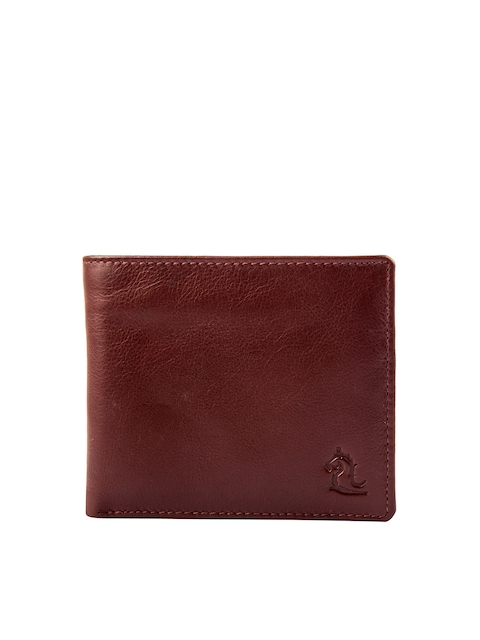 Kara Men Tan Brown Leather Solid Two Fold Wallet
