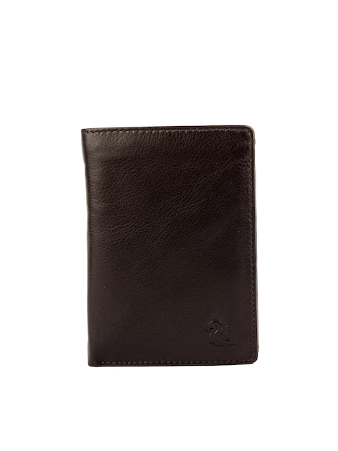 Kara Men Brown Leather Solid Two Fold Wallet