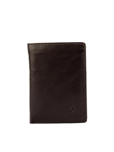 Kara Men Brown Leather Solid Two Fold Wallet